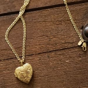 Real gold 24k gold Heart necklace